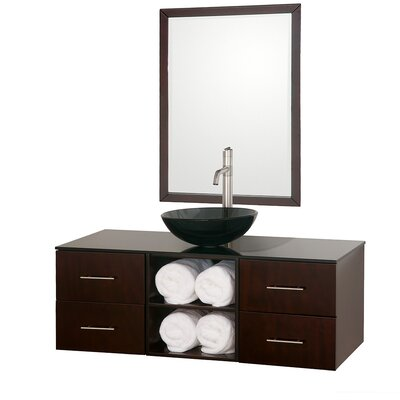 Abba 48 Single Bathroom Vanity Set with Mirror Top Finish: White Man-Made Stone, Sink Finish: Black Granite