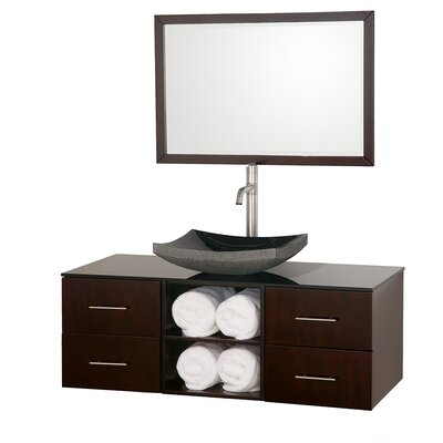 Abba 48 Single Bathroom Vanity Set with Mirror Top Finish: Smoke Glass, Sink Finish: Black Granite