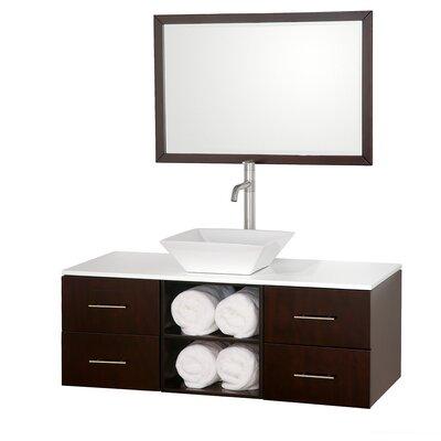 Abba 48 Single Bathroom Vanity Set with Mirror Top Finish: White Man-Made Stone, Sink Finish: White Porcelain