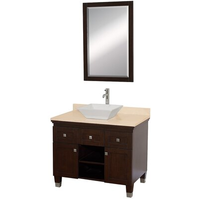 Premiere 36 Single Espresso Bathroom Vanity Set with Mirror Top Finish: Ivory Marble, Sink Finish: Black Granite