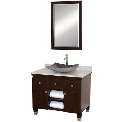 Premiere 36 Single Espresso Bathroom Vanity Set with Mirror Top Finish: White Carrera Marble, Sink Finish: Black Granite