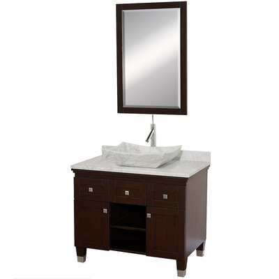 Premiere 36 Single Espresso Bathroom Vanity Set with Mirror Top Finish: White Carrera Marble, Sink Finish: White Carrera Marble