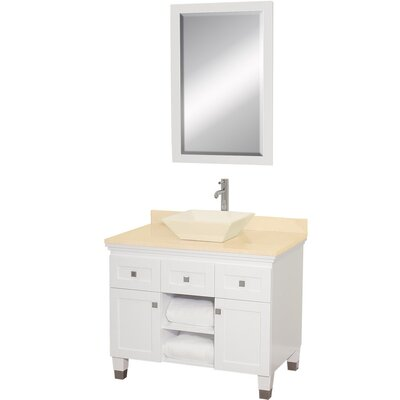 Premiere 36 Single White Bathroom Vanity Set with Mirror Top Finish: White Carrera Marble, Sink Finish: Black Granite