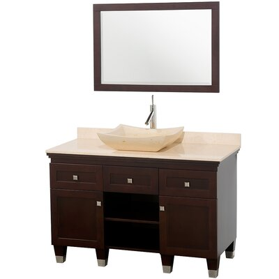 Premiere 48 Single Espresso Bathroom Vanity Set with Mirror Top Finish: Ivory Marble, Sink Finish: Ivory Marble