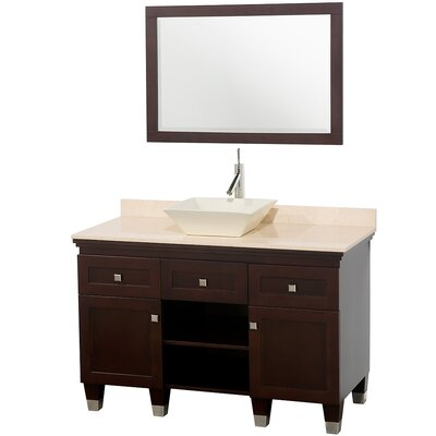 Premiere 48 Single Espresso Bathroom Vanity Set with Mirror Top Finish: Ivory Marble, Sink Finish: White Porcelain