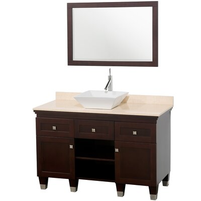 Premiere 48 Single Espresso Bathroom Vanity Set with Mirror Top Finish: Ivory Marble, Sink Finish: Bone Porcelain