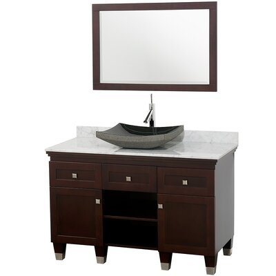 Premiere 48 Single Espresso Bathroom Vanity Set with Mirror Top Finish: White Carrera Marble, Sink Finish: White Carrera Marble