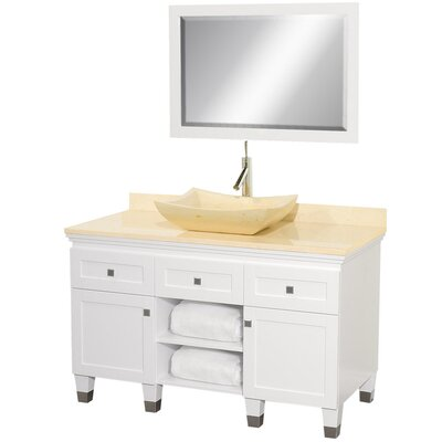 Premiere 48 Single White Bathroom Vanity Set with Mirror Top Finish: Ivory Marble, Sink Finish: Ivory Marble