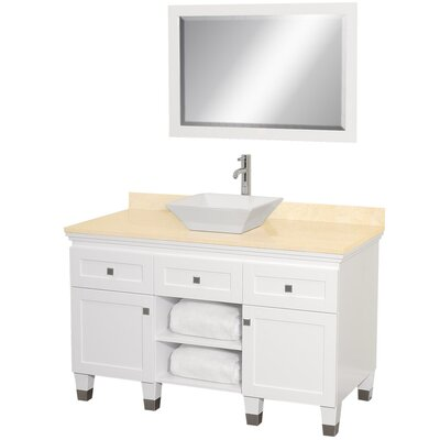 Premiere 48 Single White Bathroom Vanity Set with Mirror Top Finish: Ivory Marble, Sink Finish: White Porcelain