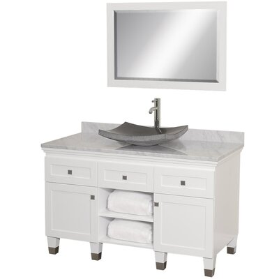 Premiere 48 Single White Bathroom Vanity Set with Mirror Top Finish: White Carrera Marble, Sink Finish: Black Granite
