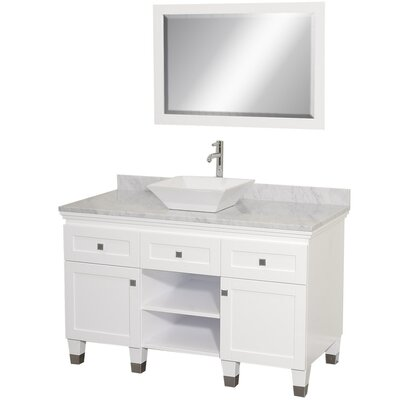 Premiere 48 Single White Bathroom Vanity Set with Mirror Top Finish: White Carrera Marble, Sink Finish: White Porcelain