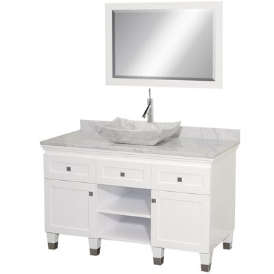 Premiere 48 Single White Bathroom Vanity Set with Mirror Top Finish: White Carrera Marble, Sink Finish: White Carrera Marble