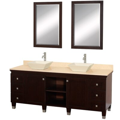 Premiere 72 Double Espresso Bathroom Vanity Set with Mirror Top Finish: Ivory Marble, Sink Finish: Bone Porcelain