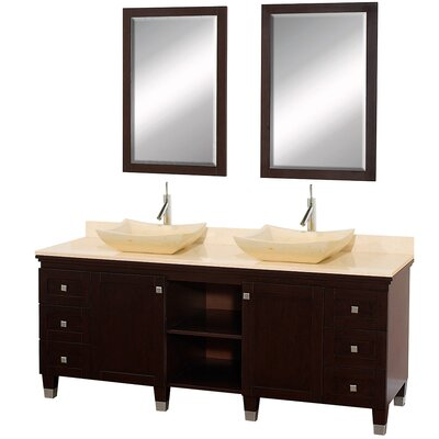 Premiere 72 Double Espresso Bathroom Vanity Set with Mirror Top Finish: Ivory Marble, Sink Finish: Ivory Marble