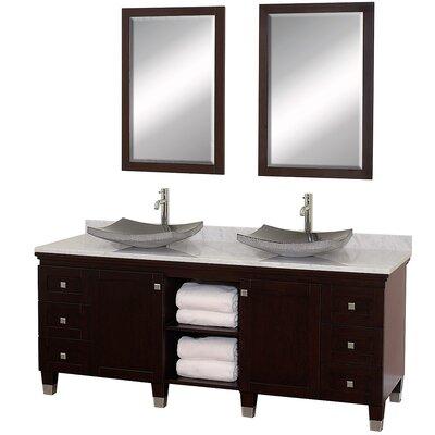 Premiere 72 Double Espresso Bathroom Vanity Set with Mirror Top Finish: White Carrera Marble, Sink Finish: Black Granite