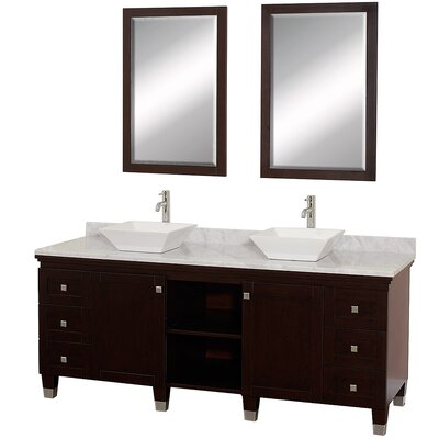 Premiere 72 Double Espresso Bathroom Vanity Set with Mirror Top Finish: White Carrera Marble, Sink Finish: White Porcelain