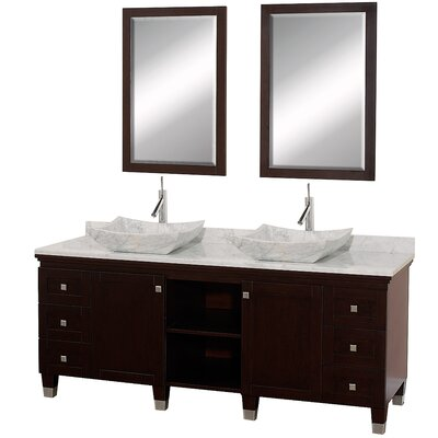 Premiere 72 Double Espresso Bathroom Vanity Set with Mirror Top Finish: White Carrera Marble, Sink Finish: White Carrera Marble