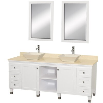 Premiere 72 Double White Bathroom Vanity Set with Mirror Top Finish: Ivory Marble, Sink Finish: Ivory Marble
