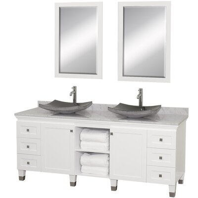 Premiere 72 Double White Bathroom Vanity Set with Mirror Top Finish: White Carrera Marble, Sink Finish: Black Granite