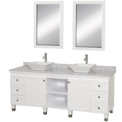 Premiere 72 Double White Bathroom Vanity Set with Mirror Top Finish: White Carrera Marble, Sink Finish: White Porcelain