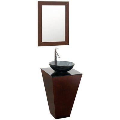 Esprit 20.1 Single Pedestal Bathroom Vanity Set with Mirror Sink Finish: Smoke Glass