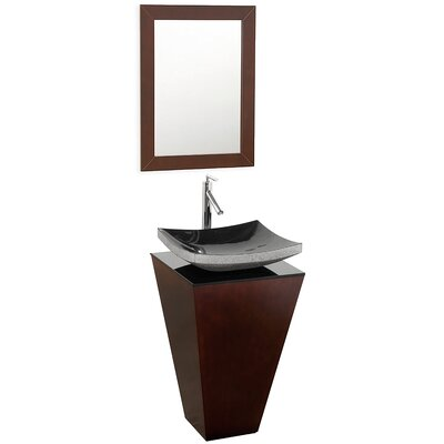Esprit 20.1 Single Pedestal Bathroom Vanity Set with Mirror Sink Finish: Black Granite