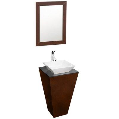 Esprit 20.1 Single Pedestal Bathroom Vanity Set with Mirror Sink Finish: White Porcelain