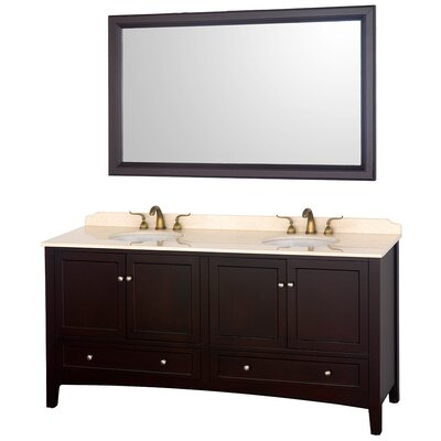 Audrey 72 Double Bathroom Vanity Set with Mirror Top Finish: Ivory Marble