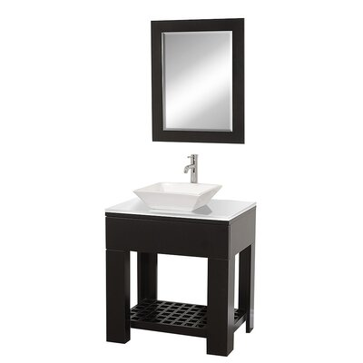 Zen II 30 Single Bathroom Vanity Set with Mirror Sink Finish: White Porcelain