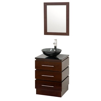 "Rioni 22"" Single Bathroom Vanity Set with Mirror Top Finish: Smoke Glass, Sink Finish: White Carrera Marble"