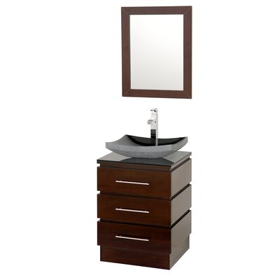 Rioni 22 Single Bathroom Vanity Set with Mirror Top Finish: Smoke Glass, Sink Finish: Black Granite