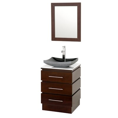 "Rioni 22"" Single Bathroom Vanity Set with Mirror Top Finish: White Man-Made Stone, Sink Finish: Black Granite"