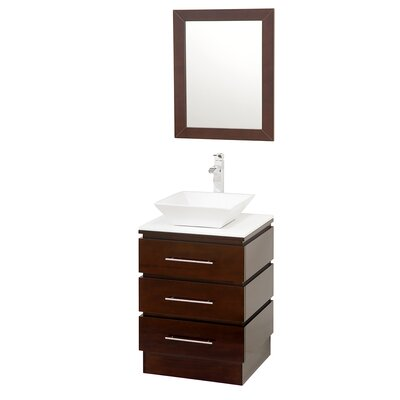 Rioni 22 Single Bathroom Vanity Set with Mirror Top Finish: White Man-Made Stone, Sink Finish: Smoke Glass