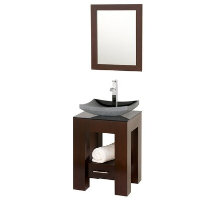 Amanda 23 Single Bathroom Vanity Set with Mirror Top Finish: Smoke Glass, Sink Finish: White Porcelain