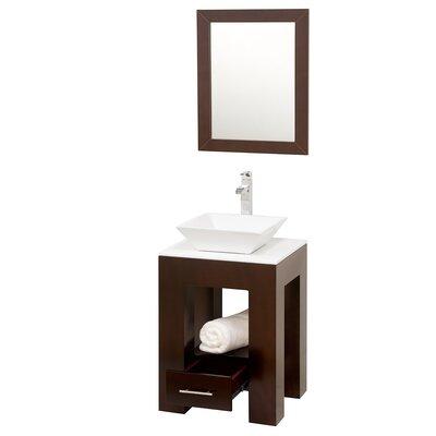 Amanda 23 Single Bathroom Vanity Set with Mirror Top Finish: White Man-Made Stone, Sink Finish: Black Granite
