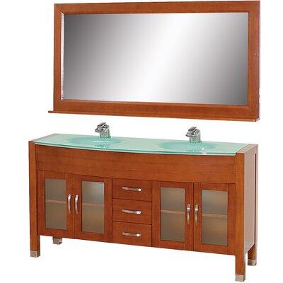 Daytona 62.75 Double Cherry Bathroom Vanity Set with Mirror Top Finish: Green Glass