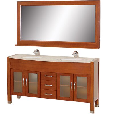 Daytona 62.75 Double Cherry Bathroom Vanity Set with Mirror Top Finish: Ivory Marble