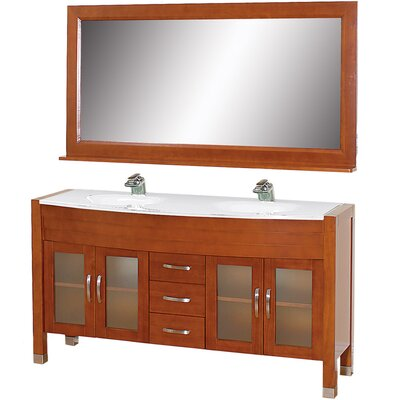 Daytona 62.75 Double Cherry Bathroom Vanity Set with Mirror Top Finish: White Man-Made Stone