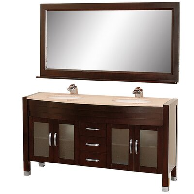 Daytona 62.75 Double Espresso Bathroom Vanity Set with Mirror Top Finish: Ivory Marble