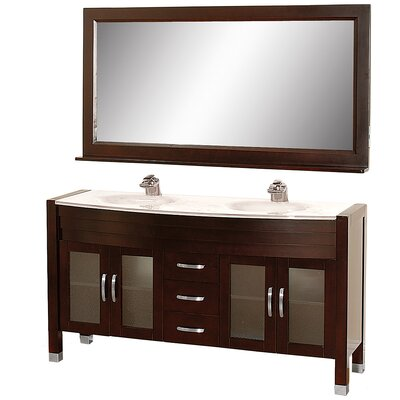 Daytona 62.75 Double Espresso Bathroom Vanity Set with Mirror Top Finish: White Man-Made Stone