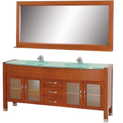 Daytona 71 Double Cherry Bathroom Vanity Set with Mirror Top Finish: Green Glass