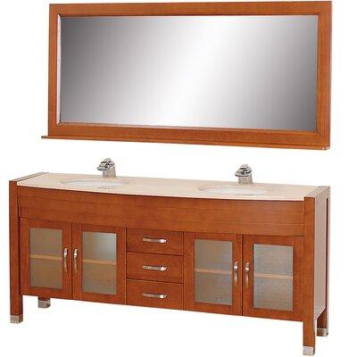 Daytona 71 Double Cherry Bathroom Vanity Set with Mirror Top Finish: Ivory Marble