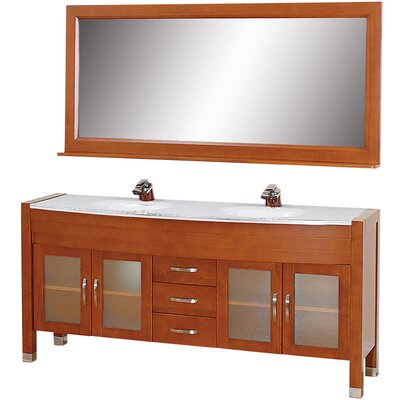 Daytona 71 Double Cherry Bathroom Vanity Set with Mirror Top Finish: White Man-Made Stone