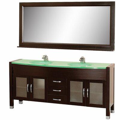 Daytona 70.5 Double Espresso Bathroom Vanity Set with Mirror Top Finish: Green Glass