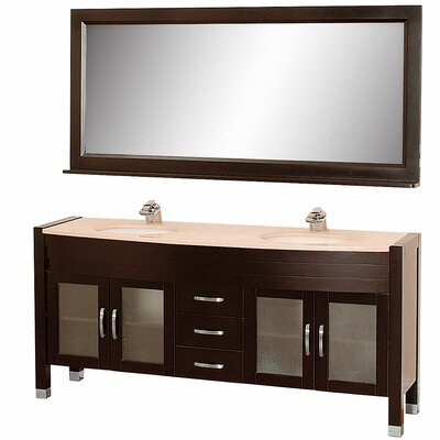 Daytona 70.5 Double Espresso Bathroom Vanity Set with Mirror Top Finish: Ivory Marble
