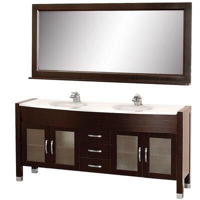 Daytona 70.5 Double Espresso Bathroom Vanity Set with Mirror Top Finish: White Man-Made Stone