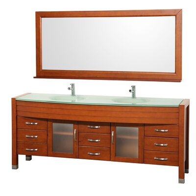 Daytona 78 Double Cherry Bathroom Vanity Set with Mirror Top Finish: Green Glass