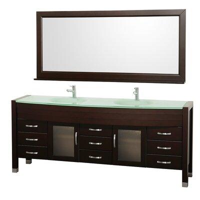 Daytona 78 Double Espresso Bathroom Vanity Set with Mirror Top Finish: Green Glass