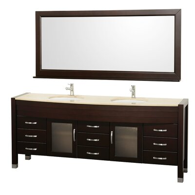 Daytona 78 Double Espresso Bathroom Vanity Set with Mirror Top Finish: Ivory Marble