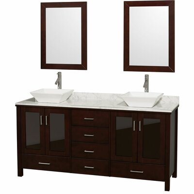 Lucy 72 Double Espresso Bathroom Vanity Set with Mirror Top Finish: White Carrera Marble, Sink Finish: White Carrera Marble